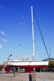 Beached sailboat for the yearly hull paint Stock Images