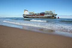 Beached ship Royalty Free Stock Image