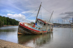 Beached ship Stock Image