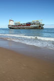 Beached ship near Valencia, Spain Stock Photo