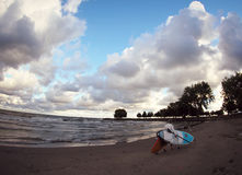 The Beaches of Cleveland. The sandy beaches of the North Coast of the USA, beautiful Edgewater Park stock photo