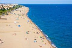 Beaches, coast in Calella. Catalonia. Spain royalty free stock photos