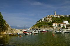 Summer seascape of Town Vrbnik , on Krk island . Adriatic sea. Summer vacation. Relaxation Concept. royalty free stock photography