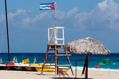 Beaches Of Cuba. Lifeguard chair and boats on beach at Playa del Este Cuba Stock Photo