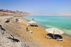 The beaches at the dead sea in Israel Royalty Free Stock Photos