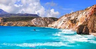 Beaches of Greece - Fyriplaka, Milos island Royalty Free Stock Photos