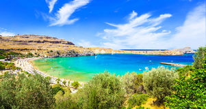 Beaches of Greece - Lindos in Rhodes island Stock Photography