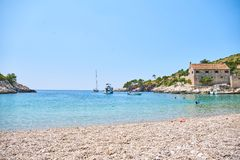 Beaches of Hvar, Croatia. Turquoise waters, green pine trees and rocks stock photo