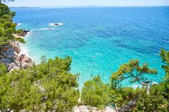 Beaches of Hvar, Croatia. Turquoise waters, green pine trees and rocks stock photos