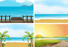 Beaches. Illustration of four scenes of oceans royalty free illustration