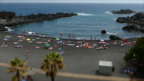 Beaches on the island of La Palma.Tilt-shift effect.Time lapse. Activity in the Beaches of Los Cancajos on the island of La Palma , Canary Islands, a sunny stock video
