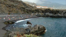 Beaches on the island of La Palma.Tilt-shift effect.Time lapse. stock video footage
