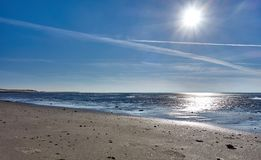 Beaches of island of wangerooge in the north sea in germany stock images