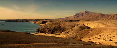 Beaches lanzarote. Panoramic photograph of the beaches of Lanzarote. Canary Islands. Spain royalty free stock images