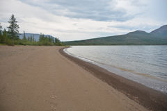 Beaches of the Norilsk lakes. Stock Photos