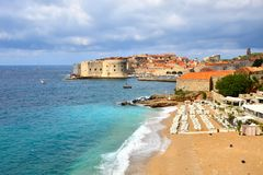 Beaches and old town of Dubrovnik, Croatia Royalty Free Stock Images