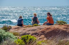 The Beaches of Perth Australia Cape Leeuwin Lighthouse: Where Friends Meet and Enjoy Together royalty free stock photography
