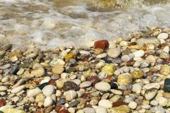 The beaches of Rhodos are beautiful with pebbles stock photography