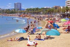 Beaches of Salou, Spain. Beautiful beaches of Salou, Catalunya, Spain royalty free stock photos