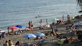 Beaches of southern Spain and swimmers crowded on a summer afternoon. Beaches of southern Spain and swimmers crowded stock video footage