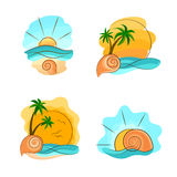 Beaches Summer Set. With sun, palms, seashells and waves Stock Photo