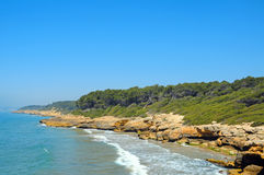 Beaches of Tarragona, Spain. A view of Punta de la Mora beaches, in Tarragona, Spain royalty free stock images