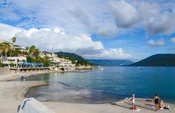 Beaches on the waterfront in Herceg Novi, Montenegro Stock Images