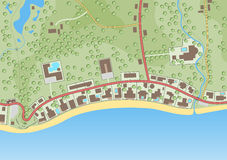 Beachfront. Editable vector illustration of a generic map of exclusive beachfront homes stock illustration