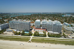 Beachfront architecture Surfside Florida. Aerial photo of buildings on the beach in Surfside Florida Stock Photography