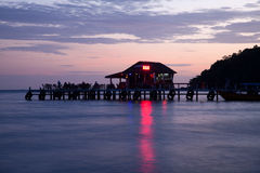 Beachfront bar at sunset Royalty Free Stock Photography