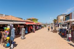 Lacanau, Atlantic Ocean, France, pedestrian street. Beachfront buildings, shops and restaurants in Lacanau, a French seaside resort on the Atlantic Coast and a Stock Image
