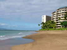 Beachfront Condos. View of several buildlings of beachfront condos stock images