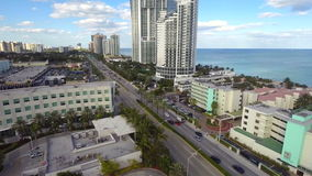 Beachfront condos in Sunny Isles Beach aerial video Stock Image