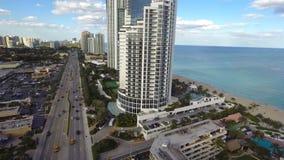 Beachfront condos in Sunny Isles Beach aerial video Stock Image
