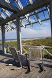 Beachfront deck. With trelliswork on Bald Head Island, North Carolina Stock Photography