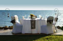 Beachfront dining - Radisson Blu Fiji Royalty Free Stock Image
