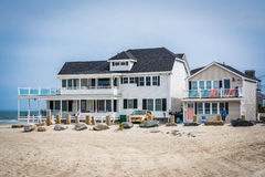 Beachfront home in Hampton Beach, New Hampshire. Royalty Free Stock Images