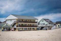 Beachfront homes in Hampton Beach, New Hampshire. Royalty Free Stock Image