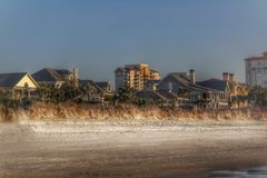 Beachfront homes nestled together in South Carolina royalty free stock photography