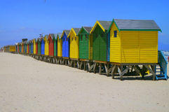Beachfront Huts. On beach in Cape Town South Africa Stock Photo