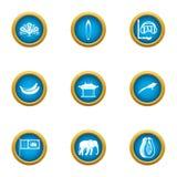 Beachfront icons set, flat style. Beachfront icons set. Flat set of 9 beachfront vector icons for web isolated on white background royalty free illustration