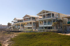 Beachfront outdoor living home. Beach front homes with spacious decks overlooking ocean Stock Image