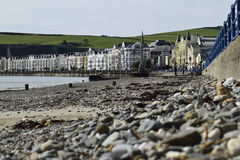 Beachfront and Promenade. A view of the beach and promenade at Douglas, Isle of Man, UK royalty free stock photo