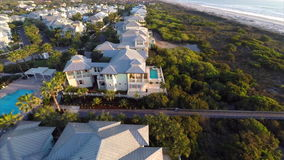 Beachfront real estate aerial video stock video