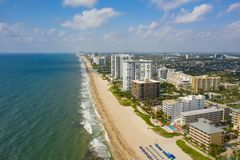 Beachfront real estate Pompano Beach FL. Shot with drone stock photos