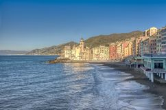 Beachfront view of Camogli, Liguria, Italy royalty free stock images