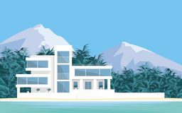 The beachfront Villa. Abstract image of a large, beautiful country house . Luxury Villa on the seafront, surrounded by palm trees. Vector background vector illustration