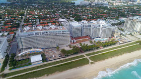 Beachftront architecture Miami Beach. Aerial image of beachfront architecture in Miami Beach FL Stock Images