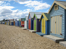 Beachhuts. Wooden beachhouses at Brighton Beach in Melbourne, Australia royalty free stock images