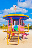 Beachlife bij het witte strand in Zuid-Miami Stock Afbeeldingen